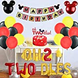 Geloar Oh Twodles Birthday Party Supplies, Mickey Minnie Themed 2nd Birthday Decorations with Oh Twodles Balloons Cake Topper Square Mickey Mouse Happy Birthday Banner for Second Girl Boy Bday Party