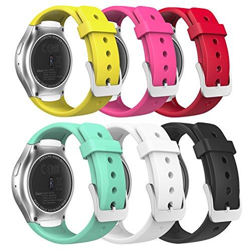 MoKo Gear S2 Watch Correa - [6Packs] Reemplaza Deportiva de Silicona Suave con Raya V de Arco Iris Colorido para Samsung Galaxy Gear S2 SM-R720 / SM-R730 Smart Watch