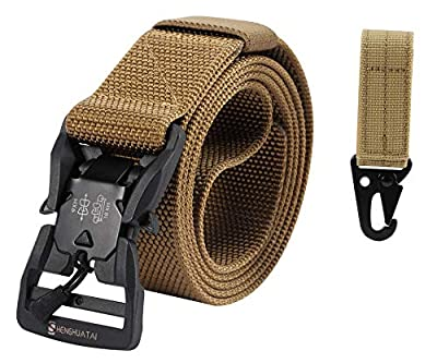 "SHENGHUATAI Tactical Belt for Men Military Style 1.5"" Nylon Webbing Belt with Magnetic Quick-Release Buckle"