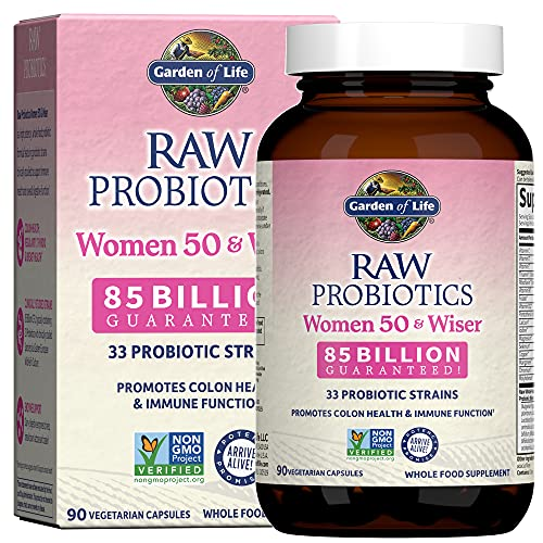 Garden of Life Raw Probiotics Women 50 & Wiser - Acidophilus Live Cultures, Probiotic-Created Vitamins, Minerals, Enzymes and Prebiotics, Gluten Free, 90 Vegetarian Capsules