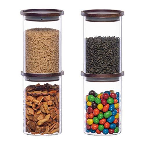 Essos Glasdosen mit Holzdeckel (4er Set) von 946 ml luftdicht und stapelbar Vorratsdosen für die Küche oder Speisekammer Kanister Holzdeckel hält Lebensmittel Kekse