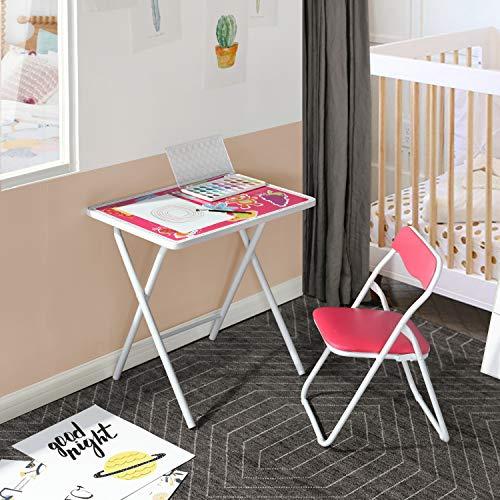 FurnitureR Juego de Mesa y Silla Plegable para niños, Mesa Junior para niños pequeños de 4 a 8 años, Juego de Estudio Escolar para niños Rosa
