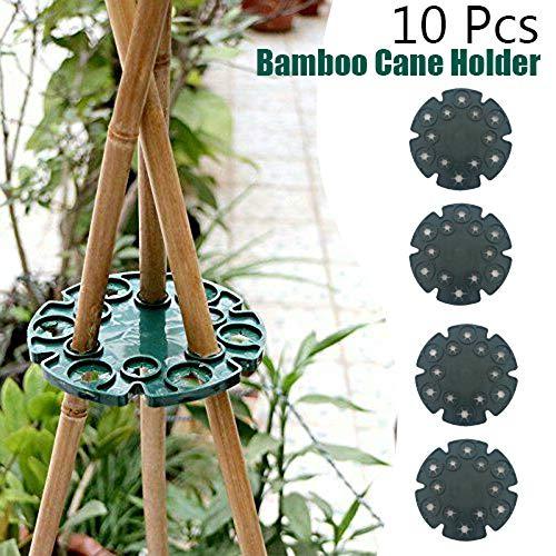 WHK 10 pcs Support de Canne en Bambou, Support de Protection des Plantes Plateau Support de Canne en Bambou Accessoires de Jardin en Plein air