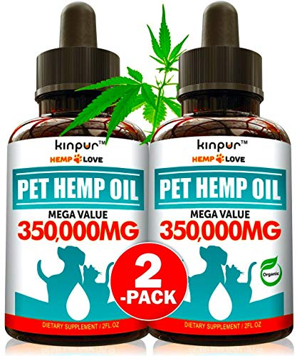 (2 Pack) Hemp Oil for Dogs & Cats - 10 000mg - Premium Hemp Extract - Anxiety Relief for Dogs - Grown & Made in USA - Omega 3, 6 & 9 - Supports Hip & Joint Health - Natural Relief for Pain