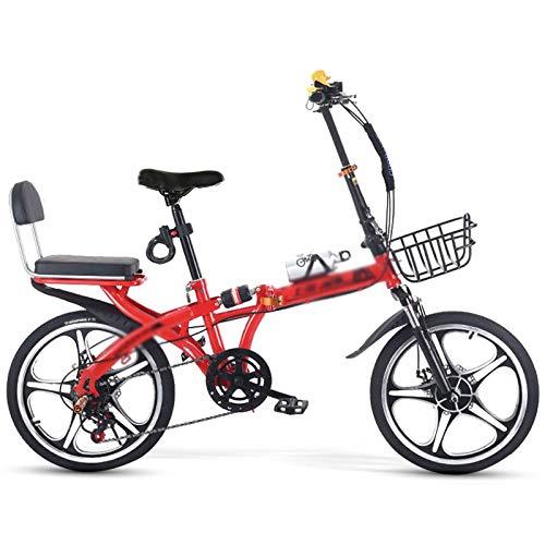 YHNMK Bikes Plegable 20 Pulgadas,5 Velocidades Choque Doble Disco Frenos,Marco de Acero de Alto Carbono,Unisex Al Aire Libre Plegable de La