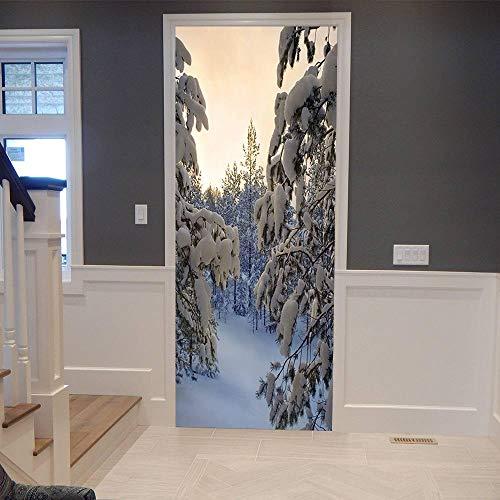 Pegatinas Mural de Puertas 3D Navidad,Autoadhesivo de Bricolaje PVC Póster para Guardería 77x200cm Papel Pintado Mural para Dormitorio Salón, Arte Moderno Decor