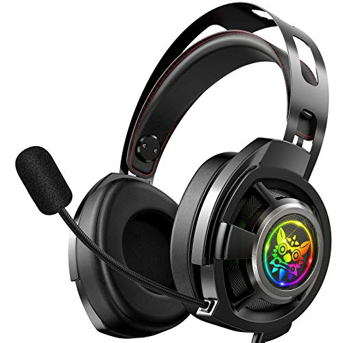 ONIKUMA Gaming Headset-M190 pro- PS4 Headset Xbox one Headset Gaming Headphone with Surround Sound, LED Light & Noise Canceling Microphone for PS4,PC,Mac,Xbox One(Adapter Not Included)
