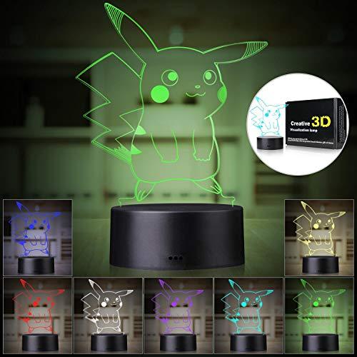 Mew Nachtlicht Pokemon Elf 3D Kristall Tischlampe Pokeball Nachttischlampe RGB