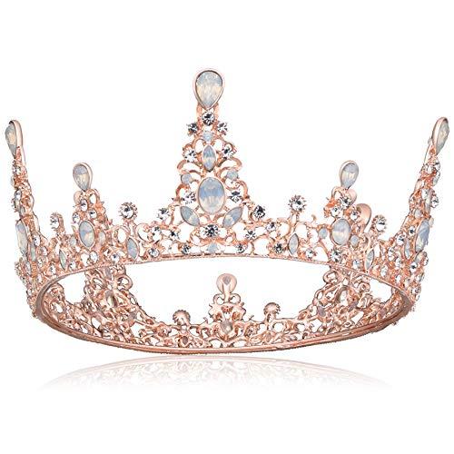 [BABEYOND]クラウン ティアラ 髪飾り レディス ウェディング 結婚式 ブライダル 花嫁 ページェント おしゃれ ラインストーン パーティー 卒業式 誕生日 コスプレ 女王 プリンセス プレゼント 女性 (1-ローズゴールド)