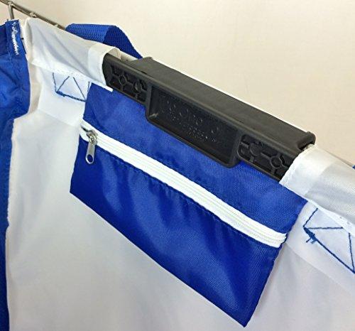 Trolly Shopping Cart Bag, Reusable, Foldable, Universal Clip, Royal Blue/white, 7oz bag that holds 40 lbs
