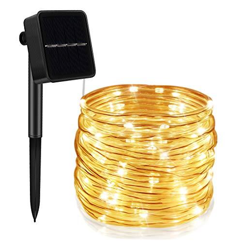 Sooair Solar Lichterschlauch, LED Lichterschlauch außen 12M 100 LEDS Lichtschlauch, 8 Modi Wasserdicht LED Lichterkette Warmweiß Röhrenbeleuchtung für Deko, Party, Hochzeit und Weihnachten