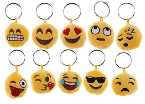 takestop® Set van 12 snoepjes pluche rond Smile Faccine emoji emoticon sleutelhouder sleutel verjaardag 18 jaar communie