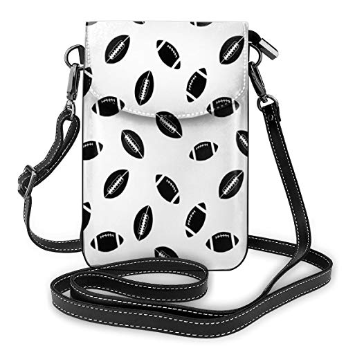 Jiger Women Small Cell Phone Purse Crossbody,Monochrome Pattern With Black Rugby Balls American Culture Sports Play