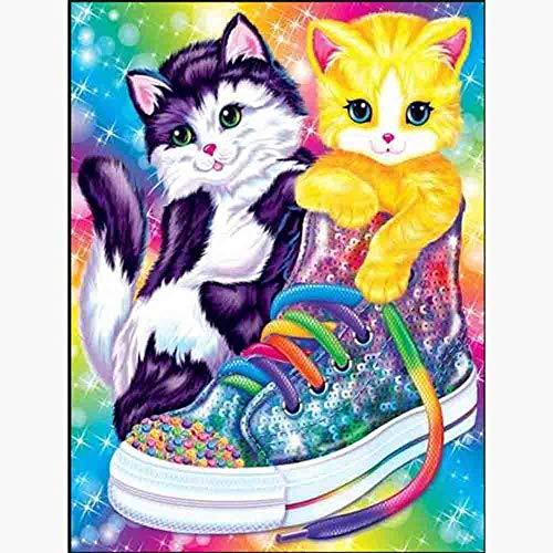 Diamante bordado 5D DIY pintura de diamante cuadrada/redonda dibujos animados gato y zapatos Rhinestone mosaico decoración del hogar 30x40/40x50cm