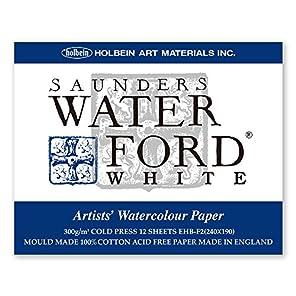 ホルベイン ウォーターフォード水彩紙 ブロック 中紙300g(中厚口) 中目 ホワイト 12枚とじ 270-937 EHB-F2