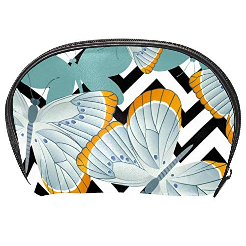 TIZORAX Sac à cosmétiques Gris Bleu Papillons Sac de voyage Organisateur de Maquillage Sac à Main pour Femmes Filles