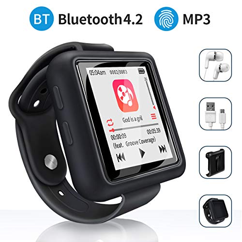 Mymahdi Sport Music Clip, 8 GB Bluetooth-MP3-Player mit FM-Radio- / Sprachaufzeichnungsfunktion, Schwarz mit Touchscreen, Maximal 128 GB