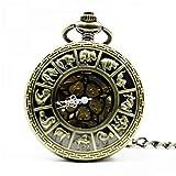 J-Love Retro Bronze Zodiac Taschenuhr Vintage Roman Number Mechanische Taschenuhr Herren Damenuhr