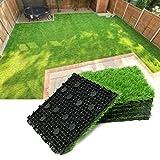 Progoal Artificial Grass Turf Tile Fake Grass Flooring Mat Interlocking Self-draining 12''x12'', 1.7'' Height (1.38in Grass)