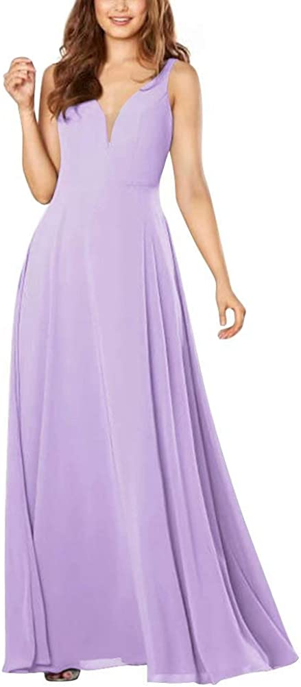 LanierWedding V-Neck Prom Dresses Long Spaghetti Straps Gorgeous Satin Formal Evening Party Ball Gown with Pockets