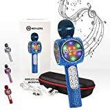 NEVLERS Micrófono de karaoke con altavoz Bluetooth inalámbrico, cambiador de voz y luces LED coloridas, fácil de usar, máquina de karaoke portátil para niños y adultos, color azul