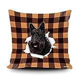 Funda de almohada a cuadros de búfalo naranja y negro con My...