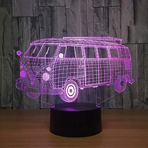 3D ilusión visual camping autobús lámpara LED acrílico transparente noche luz 7 color cambiante táctil mesa bulbing lámpara de la habitación