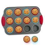 12-Becher Minimuffin-Form mit Silikonbechern (12er Set) von Boxiki Kitchen | Professionelles Antihaft-Backzubehör | Schweres Stahl und Muffinbecher aus Silikon