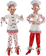 TIC Raz Imports Kringle Candy Co. 30-inch Posable Elf Figurine, Assortment of 2 (White/Red) - Beautiful Seasonal Decor for...