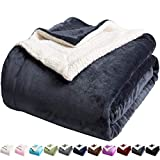 LBRO2M Sherpa Fleece Bed Blanket King Size Super Soft Fuzzy Plush Warm Cozy Fluffy Microfiber Couch Throw Velvet Double Reversible Luxurious Blankets,Dark Grey