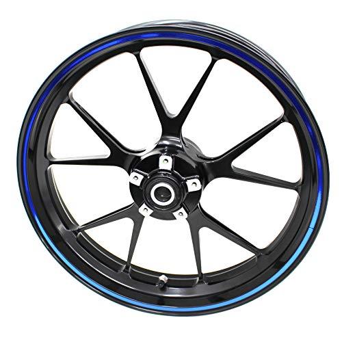Adhesivo para borde de llanta, ancho de 7 mm, cromo, holograma con herramienta de montaje de 16, 17, 18 y 19 pulgadas, para llantas de coche o moto, color cromo y azul