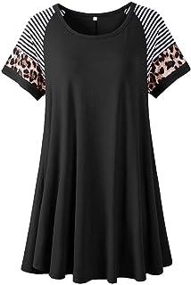 LARACE Leopard Print Tops for Women Short Sleeve Plus Size Tunic Striped Long Tee Shirt for Leggings