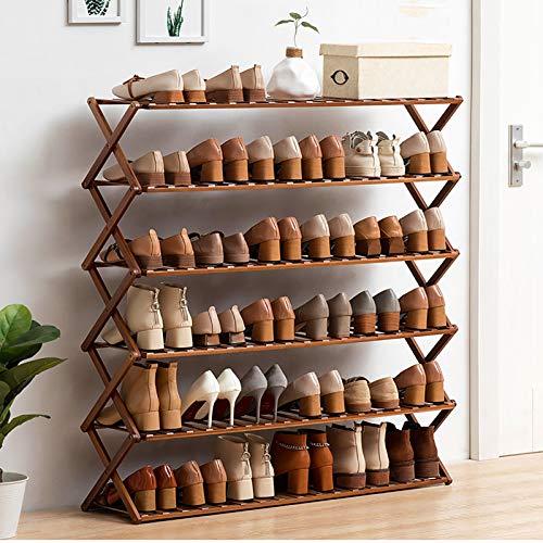 Instalación-gratis 6-nivel Zapatero,X Estilo Plegable Bambú Estante De Almacenamiento De Rack De Zapatos,Espacio-ahorro Organizador De Zapatos Para El Baño,Balcón-Marrón 100x25x100cm(39x10x39inch)
