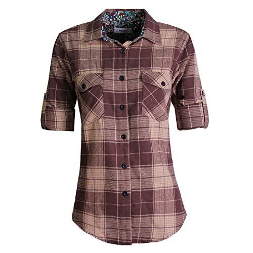 MGWDT - Camicia da donna in flanella, a maniche lunghe, in tartan, a quadretti, con bottoni a quadretti, stile occidentale - marrone - L
