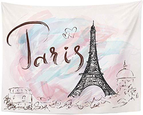 Yhjdcc Tapiz Acuarela ROM¨¢ntica Torre Eiffel Par¨ªs Viaje Poste Vintage Art¨ªstico decoraci¨®n...