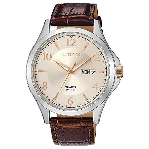 Citizen BF2009-29X Reloj de cuarzo de acero inoxidable con correa de piel de becerro marrón, 20 (modelo: BF2009-29X)