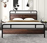 AMOLIFE Full Size Bed Frame with Wood Headboard Metal Slats, Platform Bed with Iron Frame,12' Under Bed Storage, No Box Spring Needed, Easy Assemble, Sanders Brown