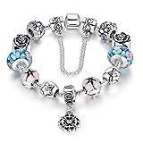 a te® bracciale charm beads fiori di vetro smalto catena sicurezza regalo donna #jw-b107 (blu)