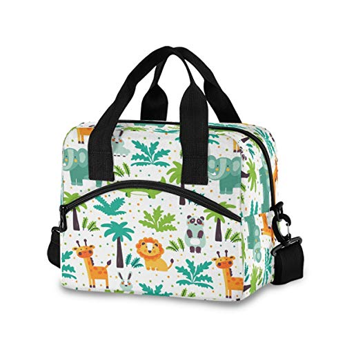 Wild Jungle Animals Lion Giraffe Elephant Lunch Bag for Boys GirlsReusable Lunch Bags Lunch Box Container with Detachable Shoulder StrapInsulated Lunch Coolers for School Work