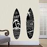 2 tablas de surf Cocotero Palmera Verano Playa Mar Surf Ola Exterme Deportes Etiqueta de la pared Calcomanía de vinilo Dormitorio de niño Sala de estar Club Surf Shop Decoración para el hogar Mur