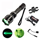 X.YShine LED Hunting Flashlight, HS-802 250 Yards Cree Q5 Coyote Hog Green Light Flashlight with Remote Tactical Pressure Switch+ Barrel Mount+ 18650 Rechargeable Battery+ Charger for Hunting, Fishing