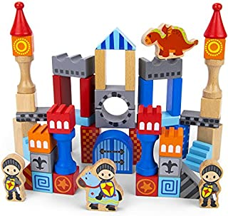 Imagination Generation Heroic Knights Wooden Castle Building Blocks, 50-Piece Medieval Play Toy Set in Storage Drum