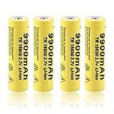 18650 Batería Recargable de Iones de Litio 3.7 V 9900 mAh Batería de Seguridad de Alta Capacidad para Linterna LED, iluminación de Emergencia, Dispositivos electrónicos, etc. (4 Piezas)