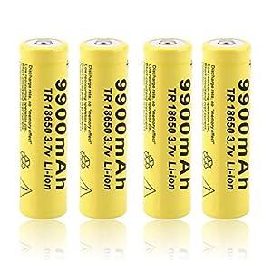 18650 Bateria Pilas Recargables 3.7V 9900mAh Li-Ion TR 1200Ciclos Larga Vida Alto Drenaje 18650 Recargable Batería Linterna LED Lámpara de Cabeza, Amarillo (4 Piezas)