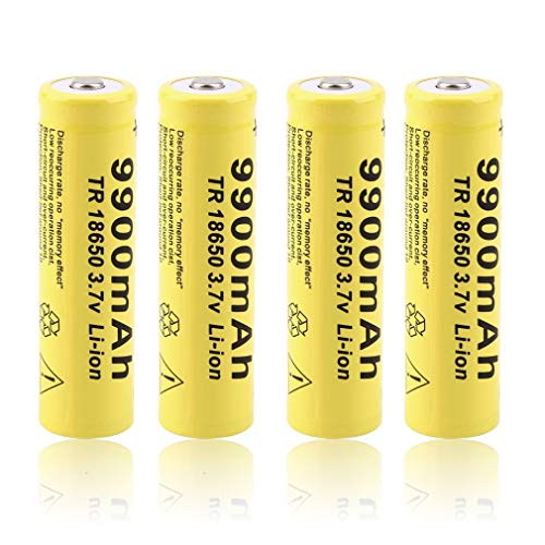 18650 Lithium-ion Battery 9900mAh 3.7V TR Li-ion High Drain Large Capacity No memory Effect Rechargeable Batteries Cells for Handheld Flashlights Headlamps Torch, Yellow (4 Pack)