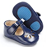 SOFMUO Baby Girls Mary Jane Flats with Bowknot Non-Slip Toddler First Walkers Princess Dress Shoes (Navy Blue,12-18 Months)
