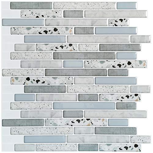 Art3d Peel and Stick Kitchen Backsplash Self-adhesive Wall Tile Stone, 10 Sheets