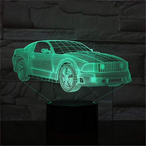 LBJZD luz de noche Motor Cars Bus Van Design 3D Led Night Light 7 Colores Lámpara Cambiante Acrílico Ilusión Lámpara De Escritorio Para Regalo De Niños Sin Mando A Distancia
