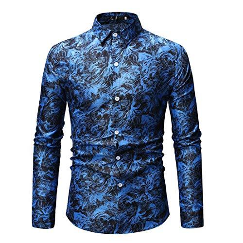 Shirt Men Tops Men Business Casual Lapel Buttons Men Shirts Autumn New Temperament Long Sleeve Slim Classic Wedding Party Fashion Business Men Shirt C-Blue 3XL