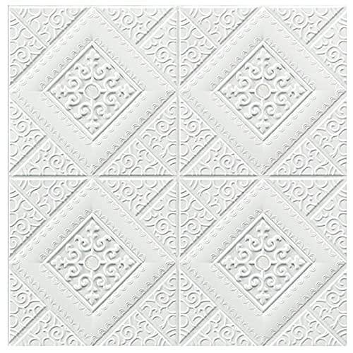 Papel pintado blanco 3D, pelar y pegar el panel de pared autoadhesivo, 27 x 27 pulgadas, 10 piezas 53 pies cuadrados, puerta dormitorio hogar